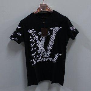 Louis Vuitton Plane Logo Print On Black T-Shirt